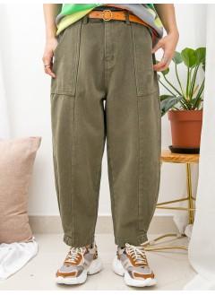 1915-1042A- 男友褲 - 兩側袋 X 後腰橡根 , 腳位打摺 X 內薄抓毛 , 扯布料 X 少低浪boy friend褲 (韓國)