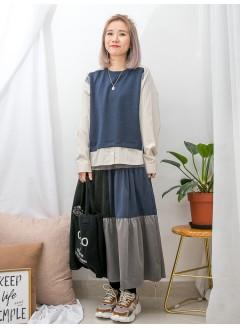 1911-1676 - 細緻・日系 -拼色直紋恤衫料 X 淨色COTTON料 , 前短後長TOP (韓國)