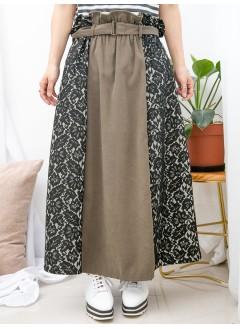 1915-1055A - 華麗・蕾絲 -通花LACE X 淨色扯布料 , 橡根腰 X 腰位RUFFLE邊 , A-LINE形半截裙 (有厘布 , 連腰帶) (韓國)0