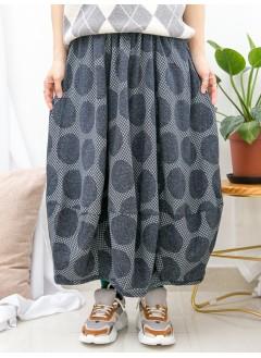 1915-1060- 必買・日系 - 後腰橡根 X 前腰打摺 , 大波點PATTERN X 下擺包邊 , 雙面料 X 泡泡腳半截裙 (韓國)0