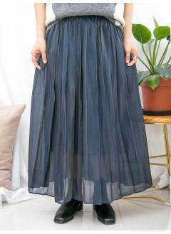 1915-1064-高質・氣質- 百摺 X 橡根腰 , 令身滑滑料半截裙 (有厘布) (韓國)0