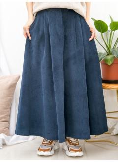 1915-1065- 年度・百搭 - 兩側袋 X 後腰橡根 X 前腰扣鈕 , 燈芯絨料A-LINE形半截裙 (韓國)0