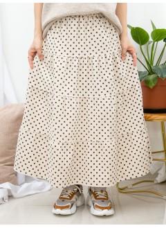 1915-1061-驚喜・裙子- 層層打摺 X 點點PATTERN , 橡根腰 X 燈芯絨料半截裙 (韓國)0