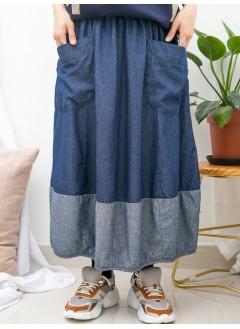 1915-1068 - 四季款 -前兩袋 X 橡根腰 , 下擺包邊 X 拼色 , 薄牛仔料半截裙 (韓國)0