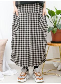 1915-1057- 日系・格格 - 下擺兩旁打摺 X 兩側袋 X 後腰橡根 , 格仔PATTERN雙面料半截裙 (韓國)0