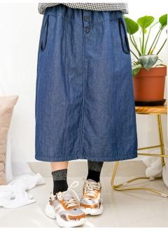 1915-1053 - 百搭・日系裙子 -兩側袋 X 燈芯絨料橡根腰 , 牛仔雙面料半截裙 (韓國)