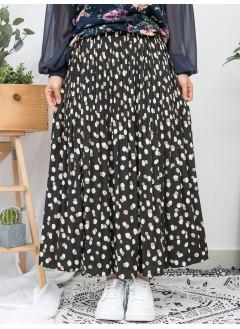 1916-1039 -強烈推介-拼色點點PATTERN X 百摺 , 橡根腰 X RUFFLE邊 , 滑滑料半截裙 (有厘布) (韓國)