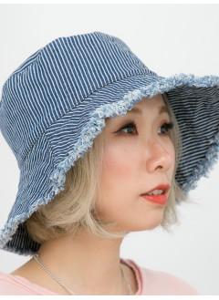 1919-1004- 輕鬆・條子 - 直紋 X SOSO邊 , 扯布料漁夫帽 (韓國)-