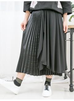 1916-1034- 強烈推介 - DOUBLE LAYER不規則雪紡料 X 百摺軟身色丁料 , 橡根腰半截裙 (韓國)-