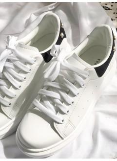 1917-1009 - 強烈推介 -釘珍珠 X 拼色 , 厚底波鞋 (韓國)