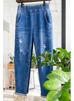 1916-1026-舒服・自在 -洗水 爛爛 直腳 全橡根牛仔褲 (布料)韓國