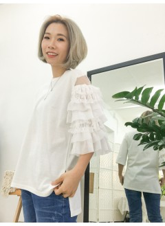 1911-1060 -lace・double layer -單邊 lace X 網布 double layer 手袖 TOP (韓國)