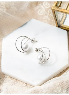 191-1002- 珍珠・魅力 - 珍珠圈圈耳環(韓國)