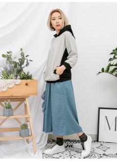 1911-1083- 日系・條子 - 前幅兩側袋 , 前幅 , 手袖直紋麻棉料 X 淨色COTTON料 , 有帽TOP (韓國)0