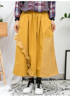 1916-1045B - 強烈推介 -前幅下擺通花棉LACE X RUFFLE邊 , 兩側袋 X 橡根腰 , 扯布料半截裙 (韓國)