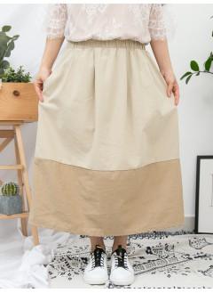 1916-1053 - 杏色・裙子 -兩側袋 X 橡根腰 , 拼色 X 扯布料 , 半截裙 (韓國)-
