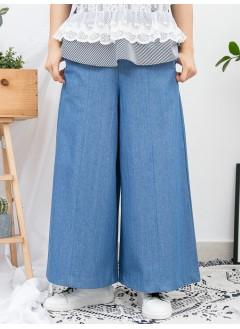 1916-1028 - 靚版型 ・闊牛 -兩側袋 X 後腰橡根 , 薄牛仔料闊褲 (韓國)