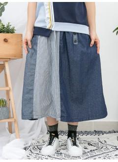 1916-1036A - 日系・牛仔 -兩側袋 X 橡根腰 , 粗 , 幼直紋麻棉料 X 深 , 淺色薄牛仔料 , 半截裙 (韓國)-