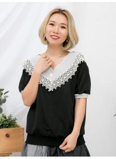 1911-1105 - 黑色・氣質 -領位 , 袖口拼色羅紋料 X 通花棉LACE , V領 X 薄衛衣料TOP (韓國)