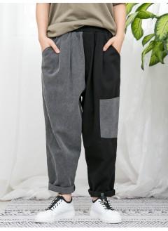 1916-1052 - 日系・拼色 -兩側袋 X 橡根腰 , 腳位爛爛 X 少披口 , 深, 淺拼色扯布料 X 少低浪 , 直腳褲 (韓國)-