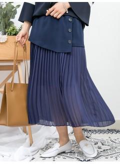 1916-1099 - 飄逸 . 氣質 -腰位DOUBLE LAYER X 釘鈕 , 百摺雪紡料 X 橡根腰 , 半截裙 (有厘布) (韓國)-