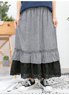 1916-1100 - 小格子 與 lace  -下擺DOUBLE LAYER X 波浪邊通花刺繡淨色恤衫料 X 格仔恤衫料 , 橡根腰半截裙 (韓國)