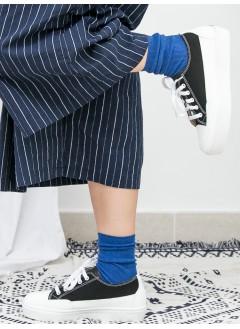 1917-1017A - 日系 . 波鞋仔 -仿皮 X 布料 , 綁帶厚底鞋 (韓國)