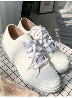 1917-1017- 日系 . 波鞋仔 -仿皮 X 布料 , 綁帶厚底鞋 (韓國)