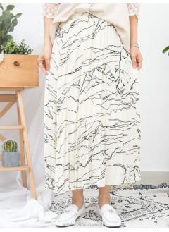 1916-1110- 藝術・氣質 - 雲石紋PATTERN X 百摺 , 橡根腰 X 滑滑料半截裙 (有厘布) (韓國)