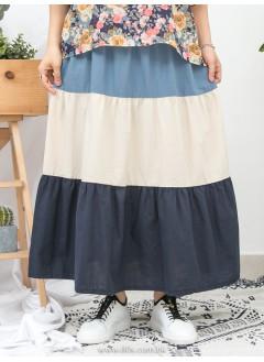 1916-1108a- 渡假風 - 兩側袋 X 橡根腰 ,  層層拼色麻棉料半截裙 (韓國)