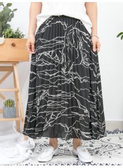 1916-1110a- 藝術・氣質 - 雲石紋PATTERN X 百摺 , 橡根腰 X 滑滑料半截裙 (有厘布) (韓國)
