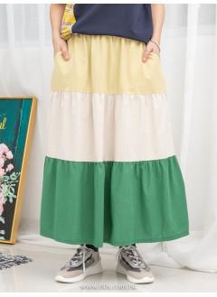 1916-1108- 渡假風 - 兩側袋 X 橡根腰 , 層層拼色麻棉料半截裙 (韓國)