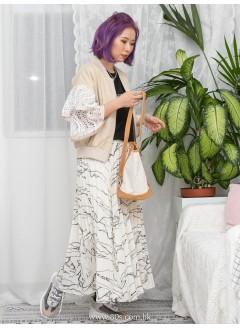 1911-1199 - lace . jacket -手袖DOUBLE LAYER X 通花LACE , 珍珠拉鏈頭 X 扯布料 , 拉鏈外套 (韓國)