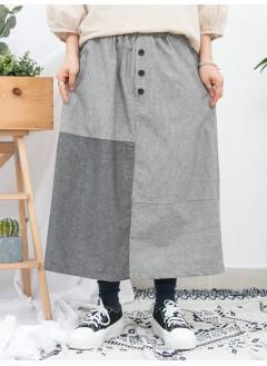 1916-1090-拼色・魅力- 兩側袋 X 前腰位釘假鈕 , 直紋 X 淨色恤衫料 , 橡根腰半截裙 (韓國)0