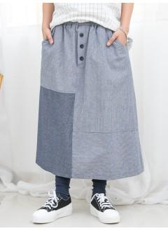 1916-1090A -拼色・魅力- 兩側袋 X 前腰位釘假鈕 , 直紋 X 淨色恤衫料 , 橡根腰半截裙 (韓國)