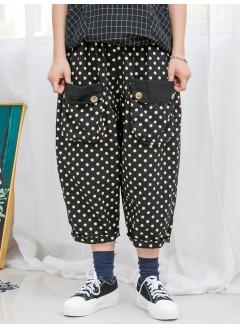 1916-1089- 日系 cute cute 波點 - 前兩袋 X 兩側袋 , 波點PATTERN X 麻棉料 , 橡根腰 X 7分泡泡褲 (韓國)