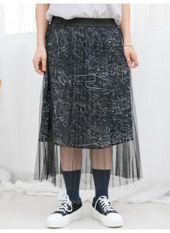 1916-1105a- 藝術・塗鴉 - DOUBLE LAYER 塗鴉PATTERN滑滑料 X 百摺網布 , 橡根腰半截裙 (韓國)0