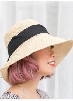 1919-1005- 夏日・草織帽 - 立體蝴蝶結 X 打摺 , 草織帽 (韓國)-