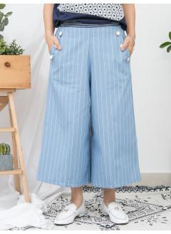 1916-1135- 條子・氣質 - 兩側袋 X 釘金邊鈕 , 前腰橫間 X 後腰橡根 , 直紋恤衫料闊褲 (韓國)-