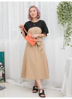 1916-1155-法式・裙子- 後腰橡根 X 束腰帶 , 兩側袋 X 前幅釘鈕 , 膊位淨色COTTON料 X 拼色恤衫料OPS (韓國)0