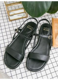 1917-1020- classic style - 一字形 X 仿皮 , 涼鞋 (韓國)