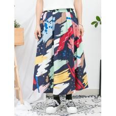 1916-1164- 色彩・魅力 - 潑墨PATTERN X 前腰打摺 X 後腰橡根 , 恤衫料半截裙 (有厘布) (韓國)0