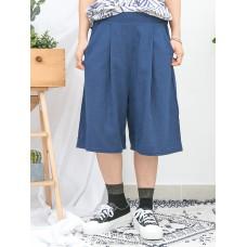 1916-1130b- 麻棉・舒適 - 兩側袋 X 後腰橡根 X 前腰打摺 , 麻棉料闊褲 (韓國)