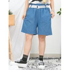 1916-1147- 最百搭 - 兩側袋 X RUFFLE邊橡根腰 , 薄牛仔料短褲 (連LACE腰帶) (韓國)0