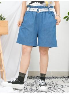 1916-1147- 最百搭 - 兩側袋 X RUFFLE邊橡根腰 , 薄牛仔料短褲 (連LACE腰帶) (韓國)