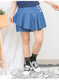 1916-1137- sweety ・ ruffles - 單邊釘鈕 X 後腰橡根 , 前幅RUFFLE X 薄牛仔料裙褲 (韓國)