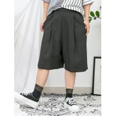 1916-1130a- 麻棉・舒適 - 兩側袋 X 後腰橡根 X 前腰打摺 , 麻棉料闊褲 (韓國)0