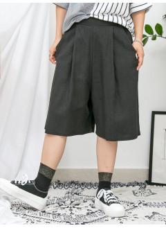 1916-1130a- 麻棉・舒適 - 兩側袋 X 後腰橡根 X 前腰打摺 , 麻棉料闊褲 (韓國)
