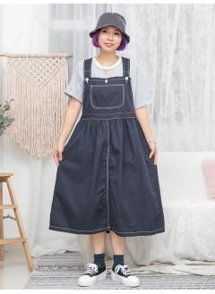1916-1156- 日系・工人裙 - 腰位兩側扣鈕 X 腰位打摺 , 拼色車線 X 扯布料 , 吊帶工人裙 (韓國)