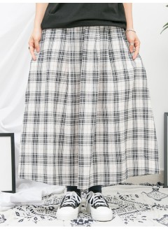 1916-1132-美美・格子- 兩側袋 X 腰位打摺 , 格仔PATTERN麻棉料 X 橡根腰 , 半截裙 (韓國)
